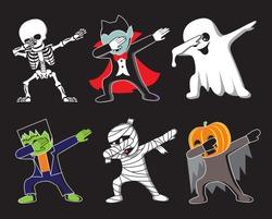 Funny cartoon skeleton, Dracula, Ghost, Frankenstein, mummy and pumpkin make DAB move, dancing hip hop style. Halloween vector illustration.