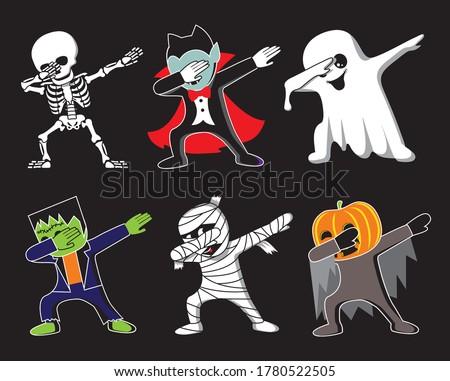 Funny cartoon skeleton, Dracula, Ghost, Frankenstein, mummy and pumpkin make DAB move, dancing hip hop style. Halloween vector illustration. Foto stock ©