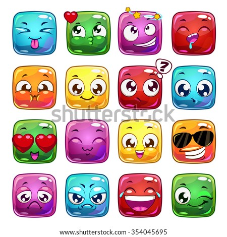 funny cartoon square jelly