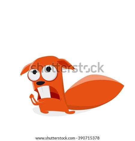 funny cartoon squirrel is