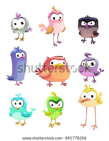 funny cartoon standing birds