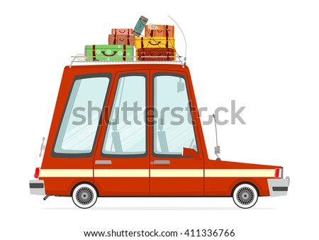 Funny cartoon station wagon on a white background. Flat vector