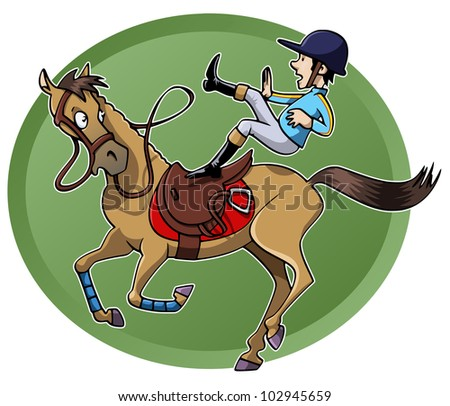 Funny Cartoon-Style Illustration: A Rider Is Unsaddled From His ...