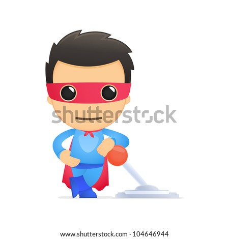 funny cartoon superhero in various poses for use in advertising, presentations, brochures, blogs, documents and forms, etc.