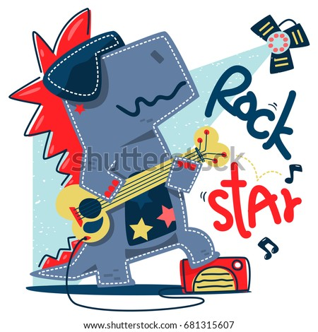 funny cartoon t rex rock star