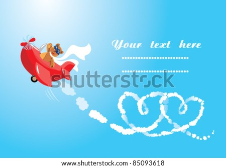 Funny cartoon. Teddy bear aviator in love. Pilot by the red plane draws hearts in the sky