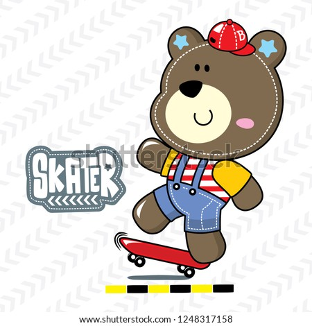 Funny cartoon teddy bear playing skateboard on white background illustration vector