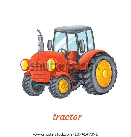 funny cartoon tractor vector