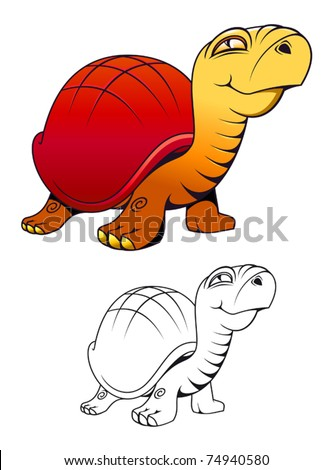 Funny cartoon turtle for mascot or tattoo isolated on white. Jpeg version also available in gallery