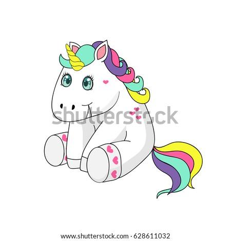 funny cartoon unicorn sitting