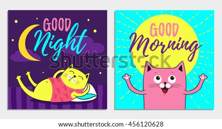 Funny Cartoon vector cat illustrations, Good Night, Morning