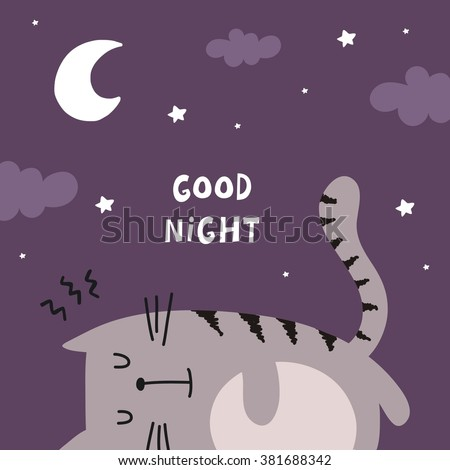 Funny Cartoon vector cat print