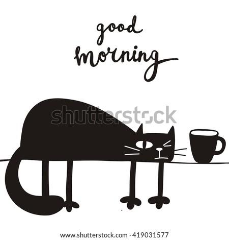 funny cartoon vector cat print