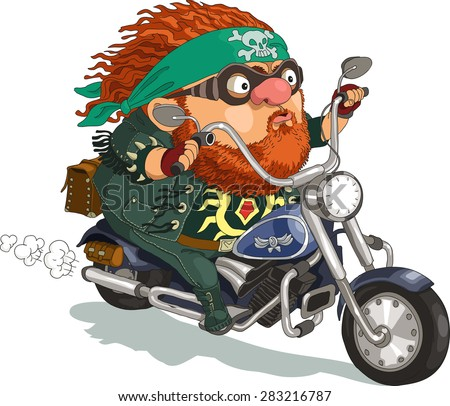 Funny cartoon. Vector illustration. A bearded biker rides a motorcycle. Isolated objects.
