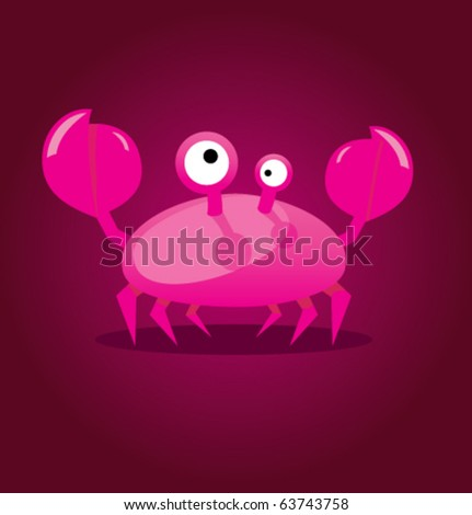 Funny cartoon vector illustration of magenta cute crab in doodle style.