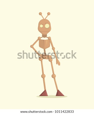 Funny cartoon vector robot. Character illustration cartoon style. Design element