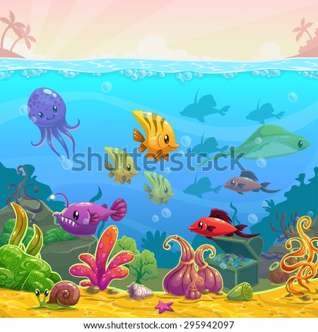 funny cartoon vector underwater