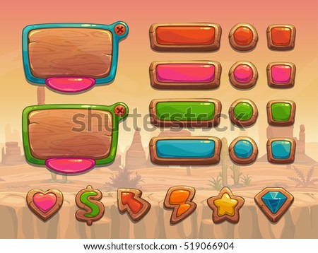 Funny cartoon wooden user interface assets. Panels, buttons, icons for web or game development. Vector elements for your design. GUI pack.