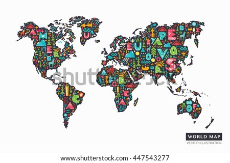 Funny world map vector download free vector art stock graphics funny cartoon world map with alphabet letters and design abstract elements vector illustration sciox Image collections