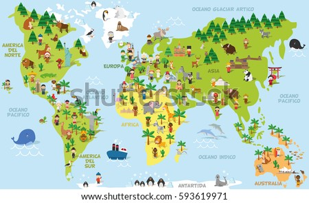 Funny cartoon world map with children of different nationalities, animals and monuments of all the continents and oceans. Names in spanish. Vector illustration for preschool education and kids design.