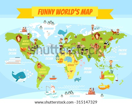 Funny cartoon world map with people of various nationalities and animals. Vector illustration for preschool education and kids design