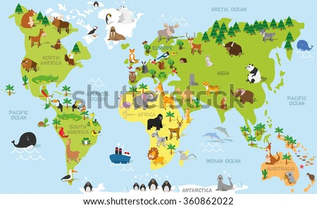 Funny world map vector download free vector art stock graphics funny cartoon world map with traditional animals of all the continents and oceans vector illustration gumiabroncs Images