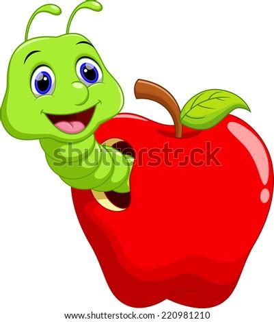 Apple Worm Teacher Cartoon Worm in The Apple