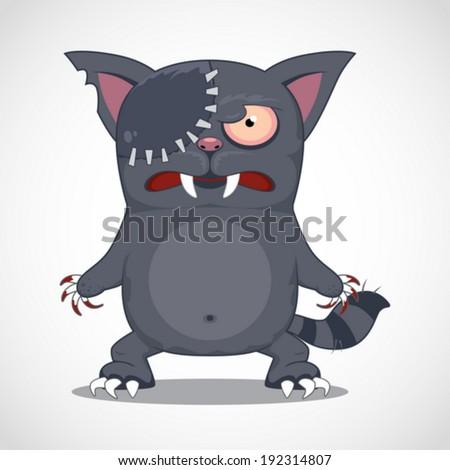 funny cartoon zombie cat