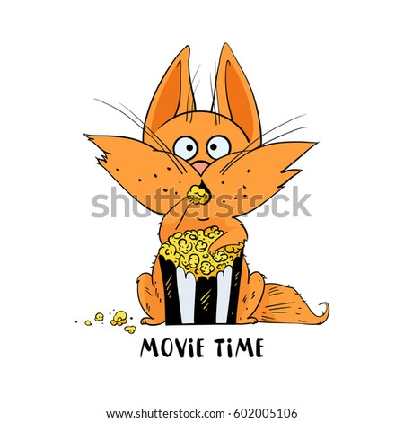 funny cat eat popcorn and