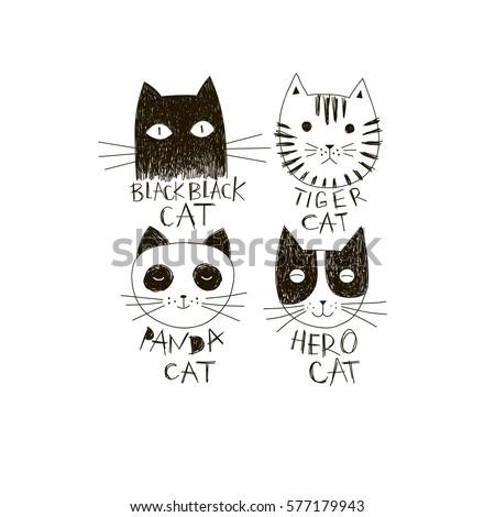 funny cat faces  doodle
