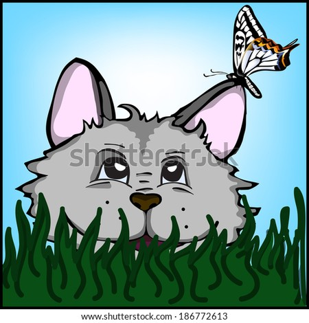 Funny cat in the grass with a butterfly on the ear #186772613