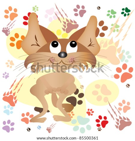 funny cat over colored paws background vector