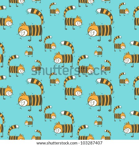 Funny cat seamless texture. Vector illustration