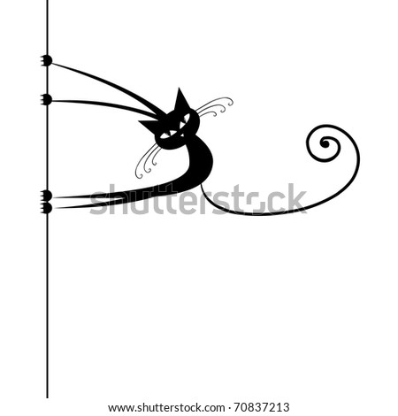 funny cat silhouette black for