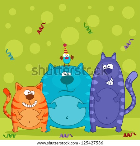 funny cats and bird vector
