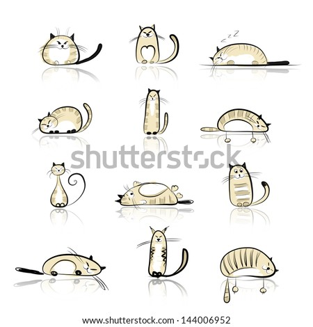Funny cats collection for your design