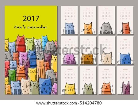 funny cats design calendar 2017