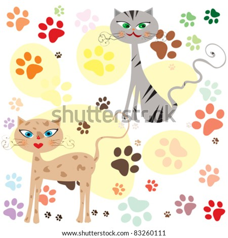 funny cats over colored paws background vector