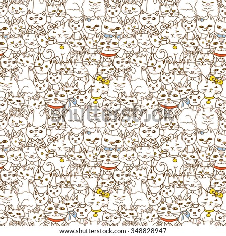 funny cats seamless pattern. pets vector background