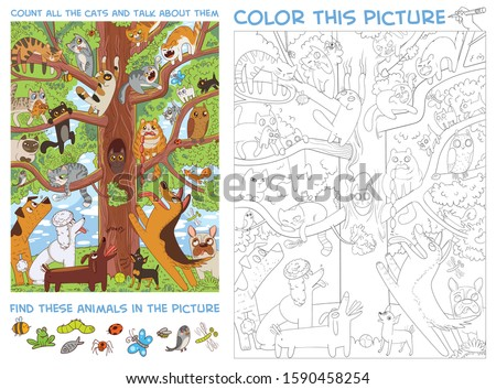 Funny cats sit on a high tree. Count all the cats and talk about them. Find animals in the picture. Puzzle Hidden Items. Coloring book. Funny cartoon character. Vector illustration
