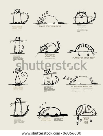 funny cats sketch  design with