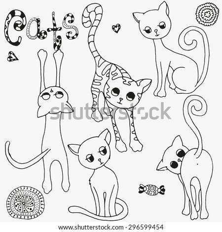 funny cats sketch vector