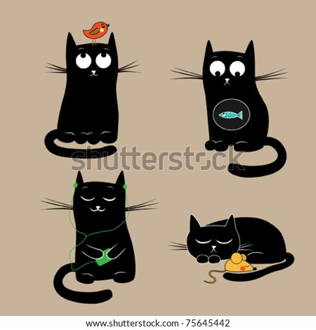 Stock Photo Funny cats. Vector illustration