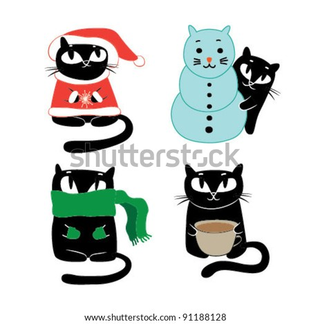 Funny Cats. Vector illustration