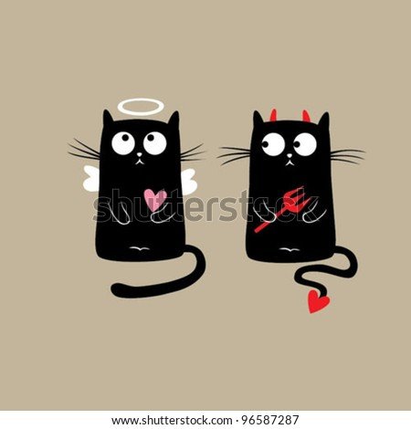 funny cats vector illustration