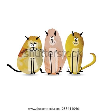 funny cats watercolor sketch