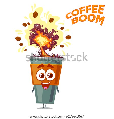 Funny character cup of coffee with explosion on head. Cartoon style. Coffee beans. Vector illustration isolated on white background.