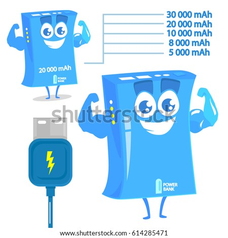 Funny character of power bank. Isolated on white background.  #614285471