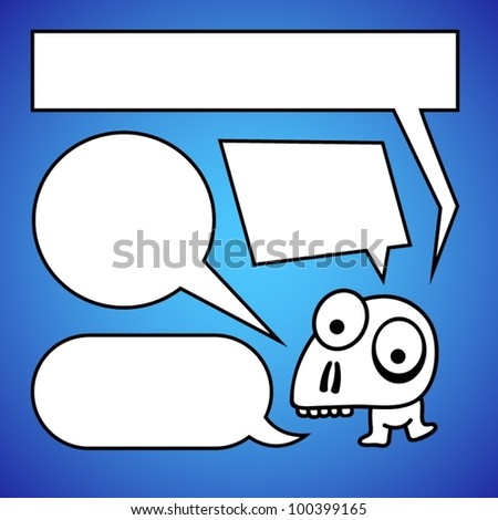 Funny character with speech bubbles.