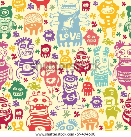 funny characters ornament, seamless vector pattern.